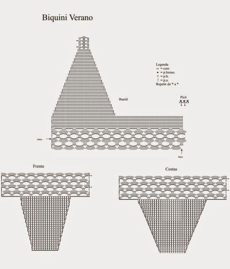 95baf860f Πλεκτες Ιδεες-Crochet Ideas: Crochet Swimsuit Pattern Free -πλεκτο μαγιο με  βελονακι- Купальники - схемы и описания -diagrama de bikini tejido al  crochet