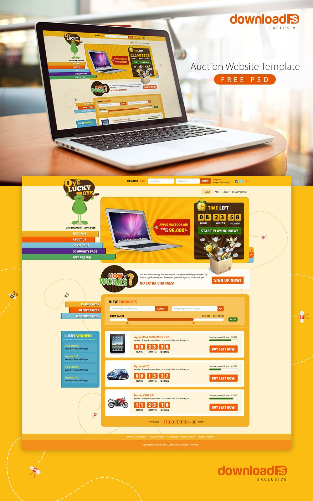Download Free Auction Website Template Free Psd Download Psd Download Free Psd Resources For Designers Free Website Templates Website Template Auction Themes