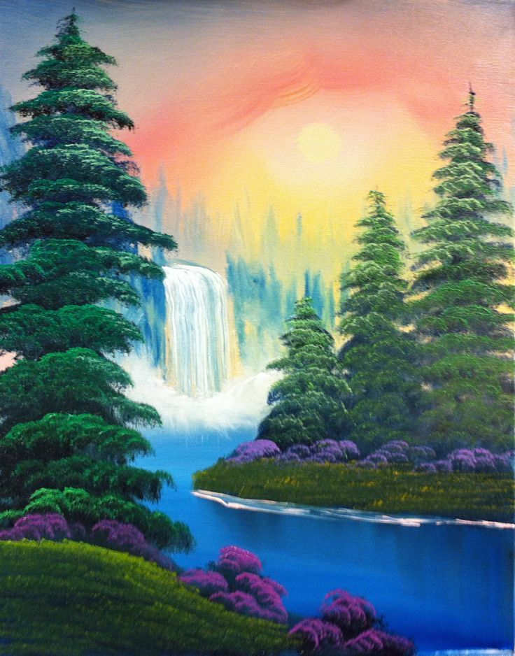 Hazy Spring Day 2 Landscape Paintings Acrylic Scenery Paintings Waterfall Paintings
