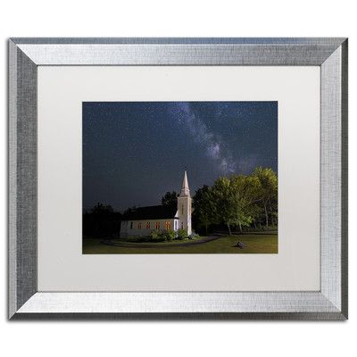 """Trademark Art 'Chapel Lights' by Michael Blanchette Framed Photographic Print Matte color: White, Size: 16"""" H x 20"""" W x 0.5"""" D"""