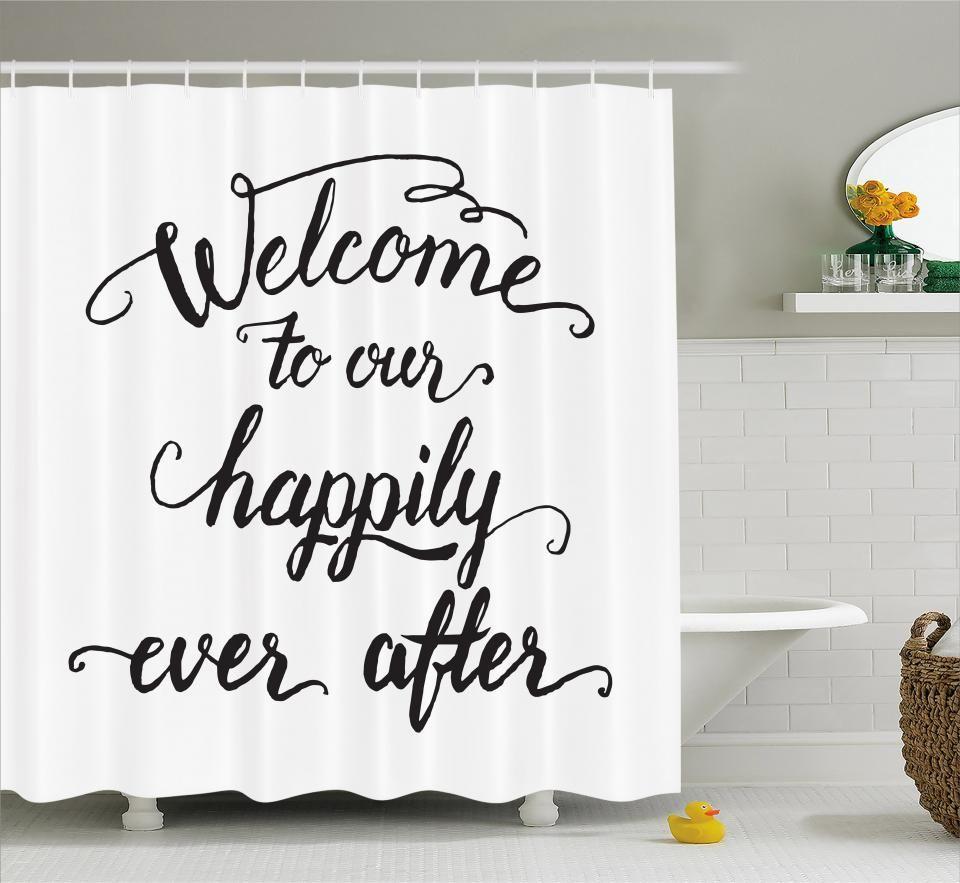 Inspirational Shower Curtain Fabric Bathroom Set With Hooks 4