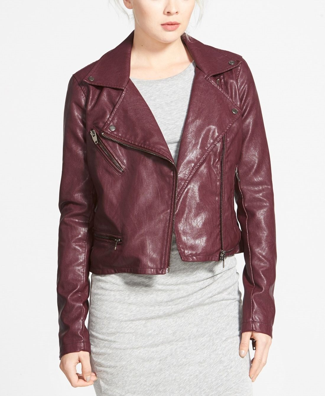 BLANKNYC Faux Leather Moto Jacket Coloured leather