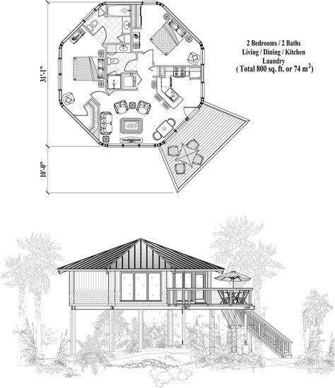 Octagon House Floor Plan 800 Sq Ft 2 Bedrooms 2 Baths Maybe For Our Reno Planos De Cabana Planos De Casas Ideas De Cabina
