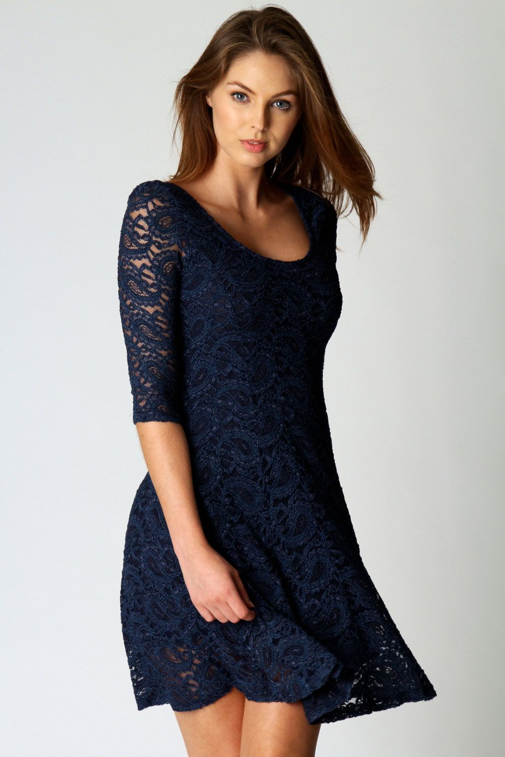 Ivy All Over Lace 3/4 Sleeve Fit + Flare Dress – Price £25.00 - - Style IQ - The UKs Biggest Female Shopping Site