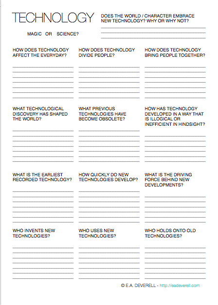 Here S A Writing Worksheet To Help You Think About Your Story World S Technologies Technology Is An Impo Writing Worksheets Book Writing Tips Creative Writing