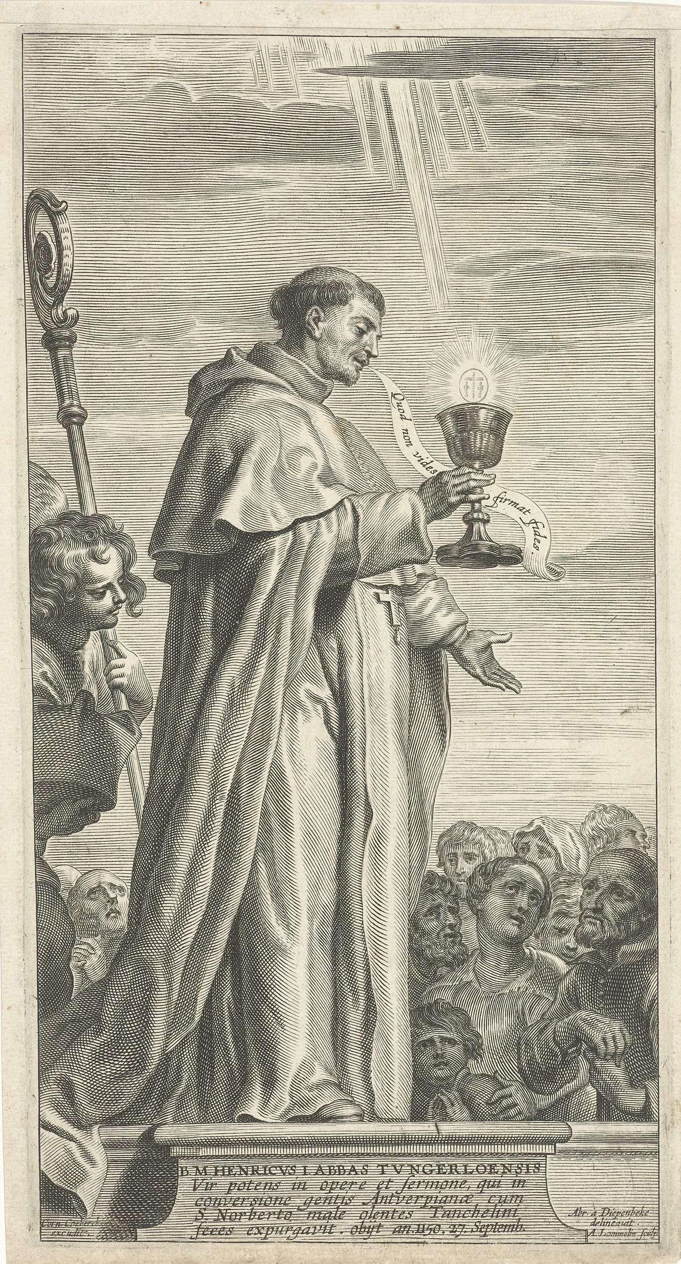 Adriaen Lommelin | Hendrik I, abt van Tongerlo, Adriaen Lommelin, Cornelis Coeberchs, 1630 - 1677 | Hendrik I, abt van Tongerlo, staat met een miskelk in zijn handen op een sokkel en spreekt een menigte mensen toe.