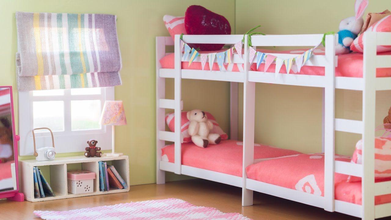 Diy Dollhouse Miniature Bunk Bed Room Set Tutorial Nendoroid Dolls Action Figures Youtube Bunk Bed Rooms Diy Barbie Furniture Diy Bunk Bed