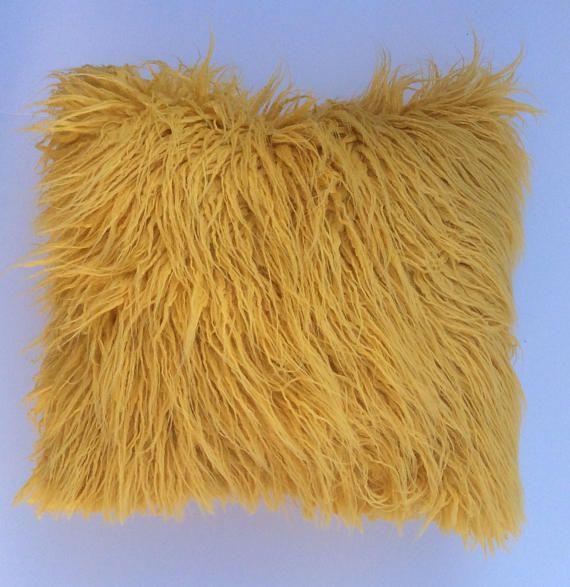 faux fur yellow pillow cover gold faux