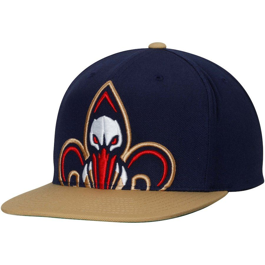 new style 2304d 310a6 Men s New Orleans Pelicans Mitchell   Ness Navy Gold Cropped XL Logo  Adjustable Snapback Hat, Your Price   31.99