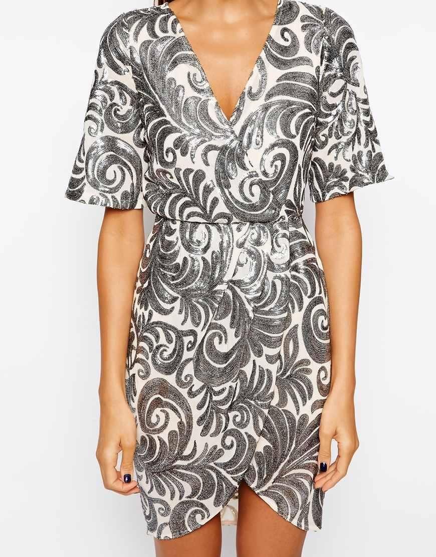 TFNC | TFNC Wrap Dress In Sequin Leaf at ASOS