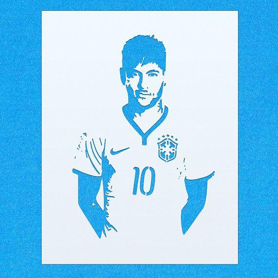 Neymar football club barcelona mylar airbrush painting - Stencil barcelona ...