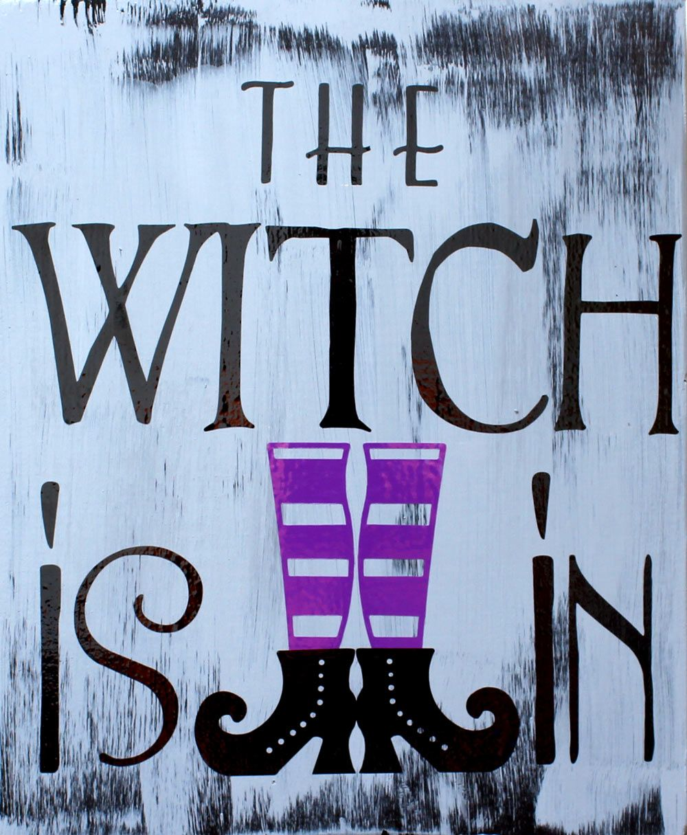 halloween vinyl sign the witch is in halloween dcor a pazzles craft room project
