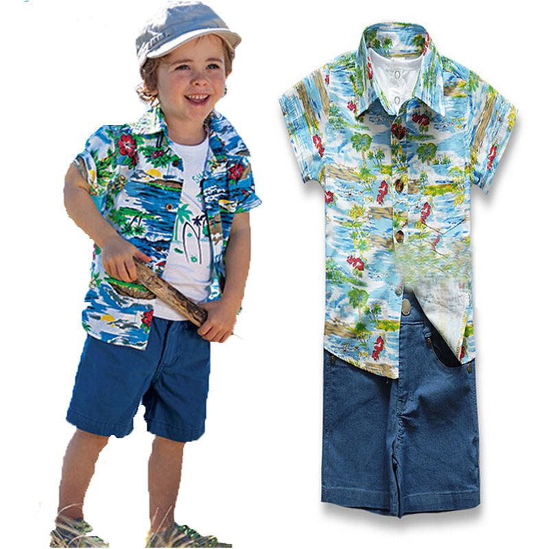 0616b1973 New summer style baby boy clothes set cartoon Hawaii printing t-shirt+pattern  top+jeans pans 3pcs suit fashion kids boy Clothing