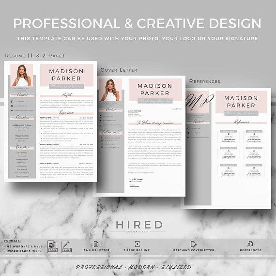 Creative  modern Resume / CV Template for Word AND Pages - resume 1 or 2 pages