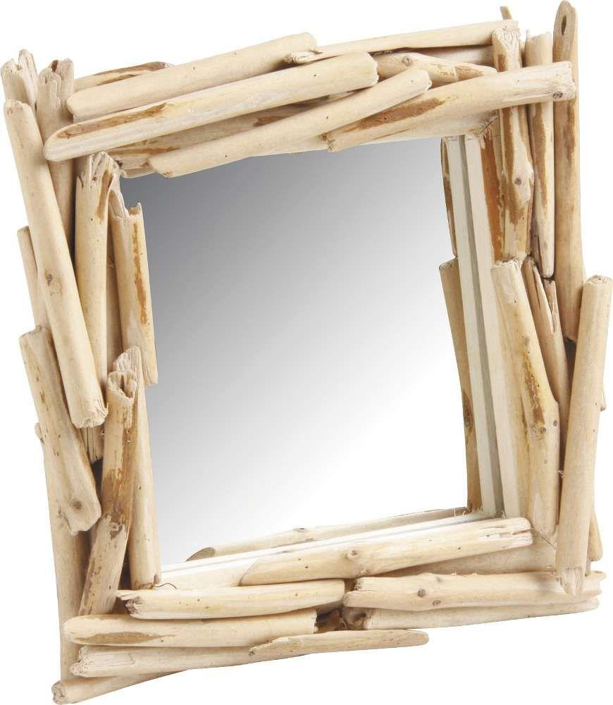 Miroir carr imitation bois flott sur villas places for Miroir carre bois