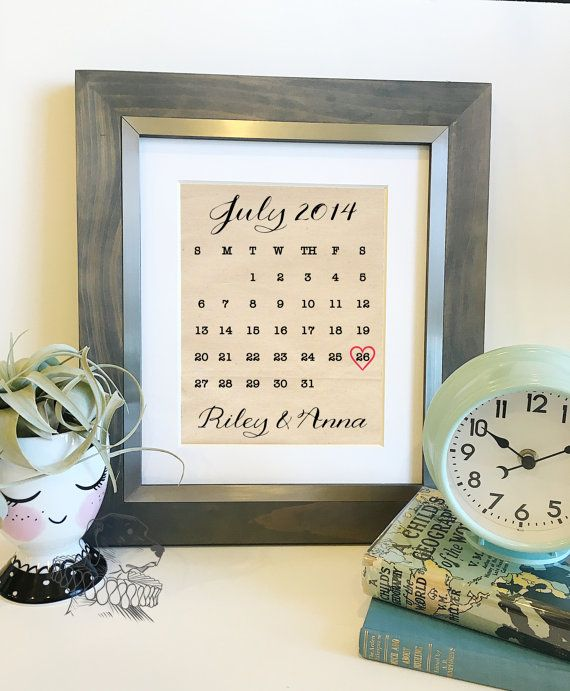 SALE Wedding Calendar Cotton Print Personalized Cotton 2nd - photo calendar
