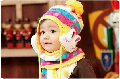 7b8fcf858 Yellow Pair of Muffler and Cap for Indian Infants with Pink