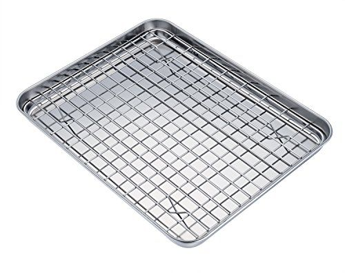 Teamfar Pure Stainless Steel Sheet Pan And Rack Set Cookie Sheet
