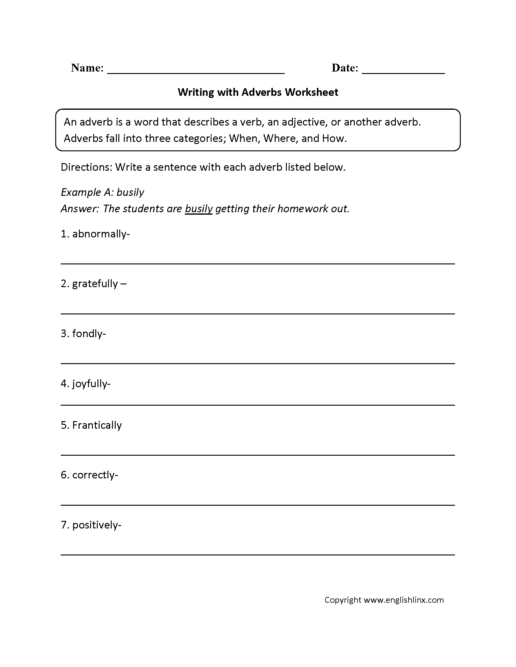 Writing With Adverbs Worksheet