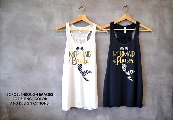 56c2a528725ab4 Bachelorette Party Shirts Mermaid of Honor Brides Mermaid