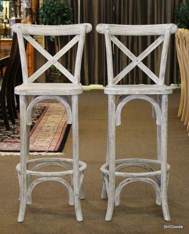 Pair Of White Washed Bar High Cross Back Barstools Seats Measure