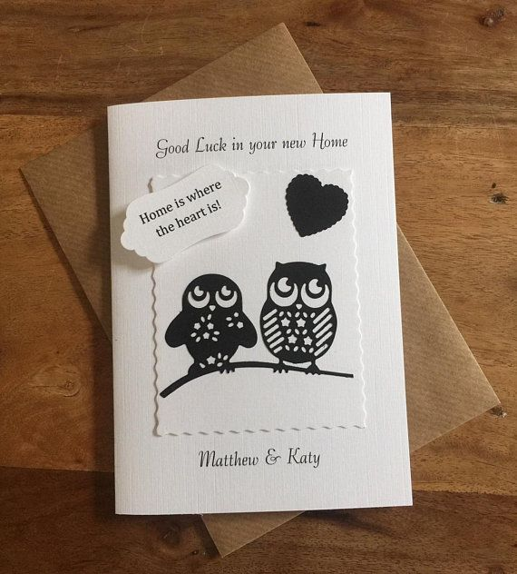 good luck in your new home card cute owls black and white handmade