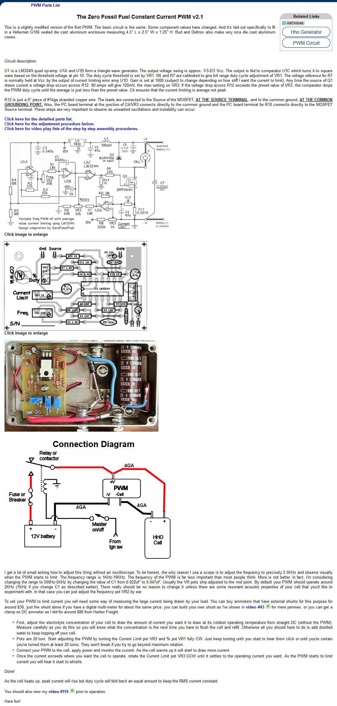 PWM v2.1 plans, parts list, board layout and schematic | circuits ...