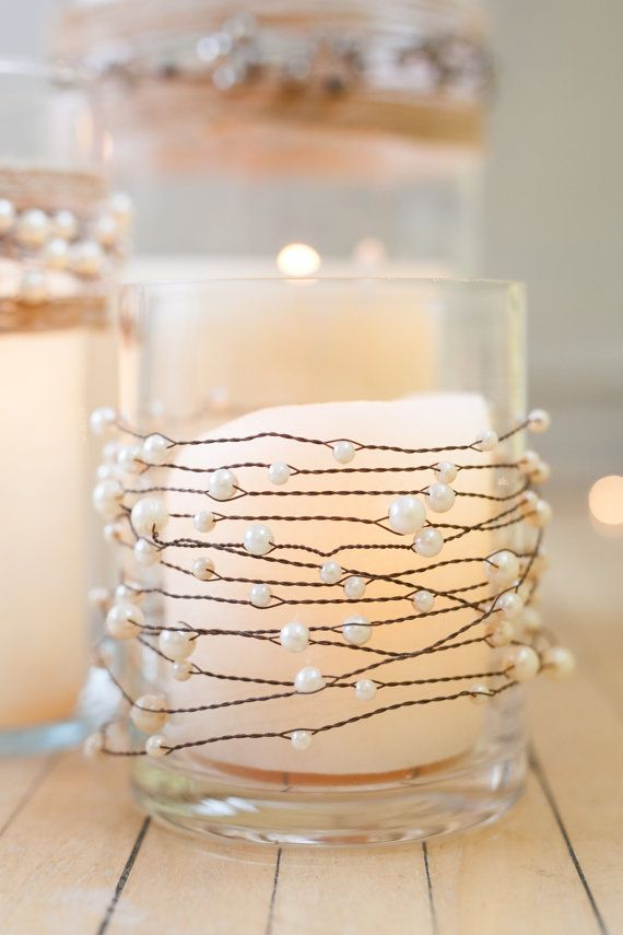 Pearls on wire garland with jute twine for rustic