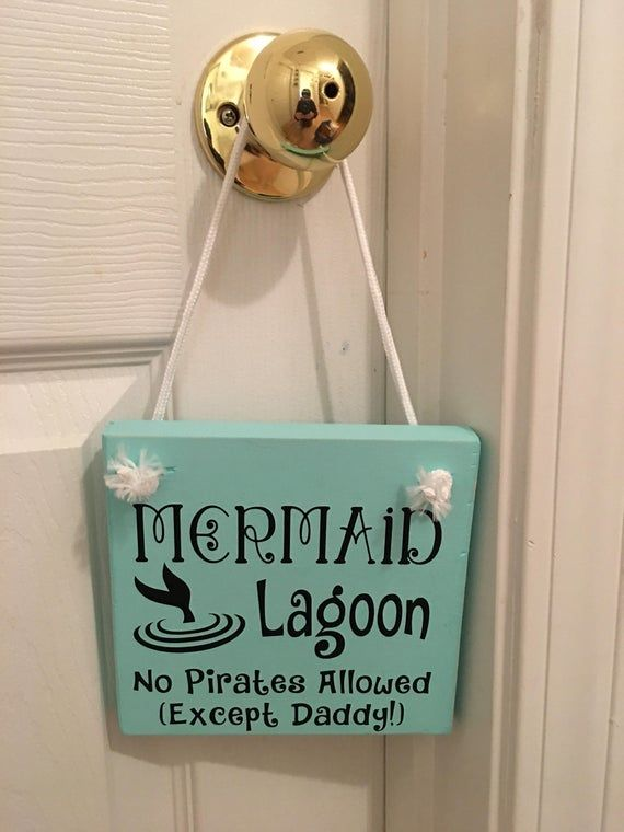 Adorable Rustic Turquoise Mermaid Lagoon Wooden Door Sign Hanger for Little Girls Room / Nursery FREE SHIPPING