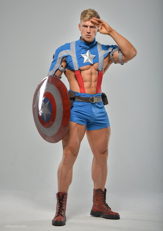 Musclemesmerizer Photo Homens Russos Capitao America Cosplay