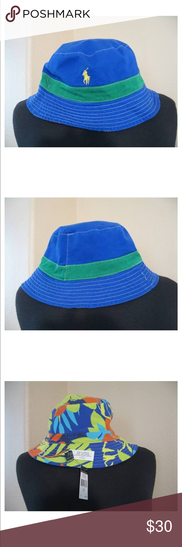 6ccc15991 Polo Ralph Lauren reversible bucket Hat B87 With a vibrant allover ...