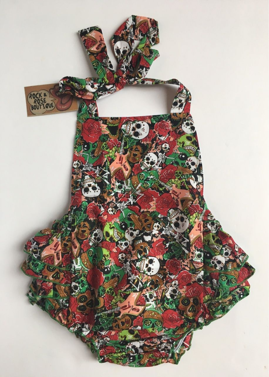 Mexican Sugar Skull Red Romper Dress