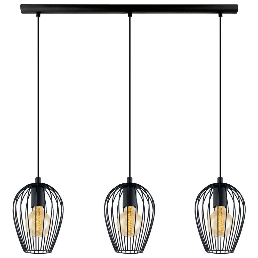 Eglo Black Newtown Three Drop Bar Pendant Light