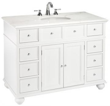 Hampton Bay 44 W Single Bath Vanity With White Marble Top Sink Cabinets Bathroom Vanities Bath Ho Marble Vanity Tops White Vanity Bathroom Sink Cabinet