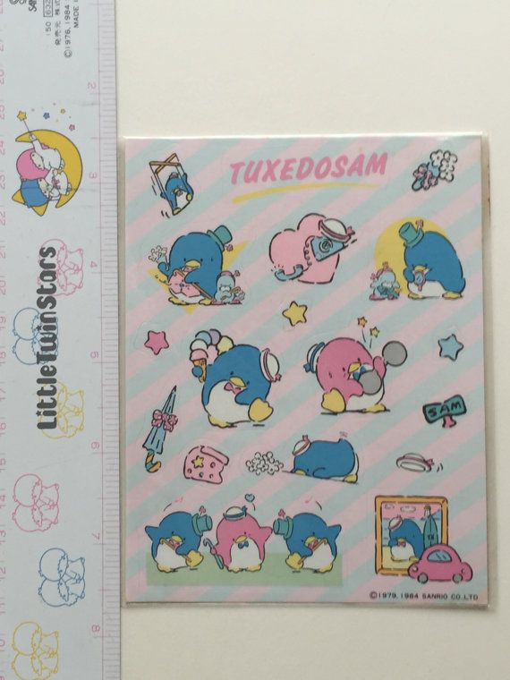 Vintage NEW Stock 1980's Sanrio Hello Kitty, TuxedoSam sticker sheet! in original plastic sleeve ©1979, 1984 Sanrio Co. LTD