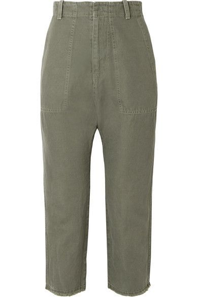 Luna Cropped Cotton And Linen-blend Twill Pants - Army green Nili Lotan