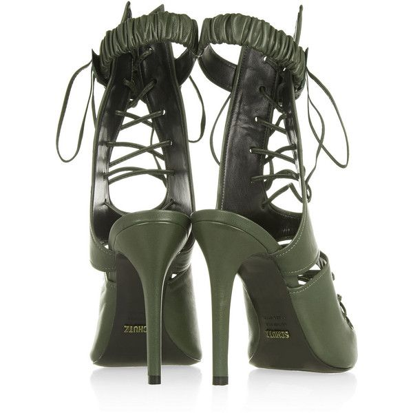 Schutz Lace-up leather sandals (€130) ❤ liked on Polyvore featuring shoes, sandals, heels, heeled sandals, high heeled footwear, leather lace up sandals, high heel sandals and lace up high heel sandals