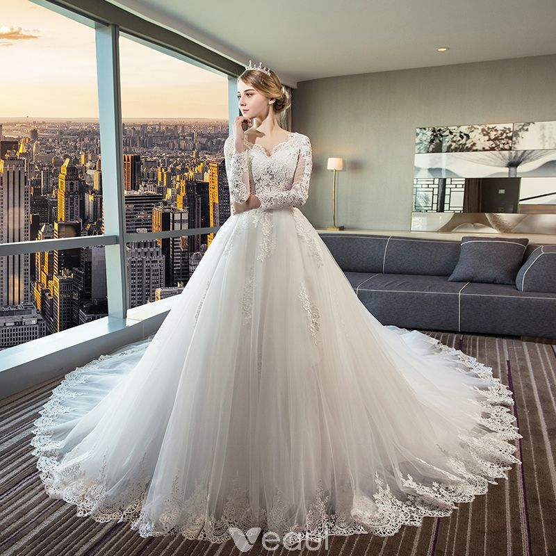 0759c4c9aa905 Chic / Beautiful Ivory See-through Wedding Dresses 2018 Ball Gown V ...