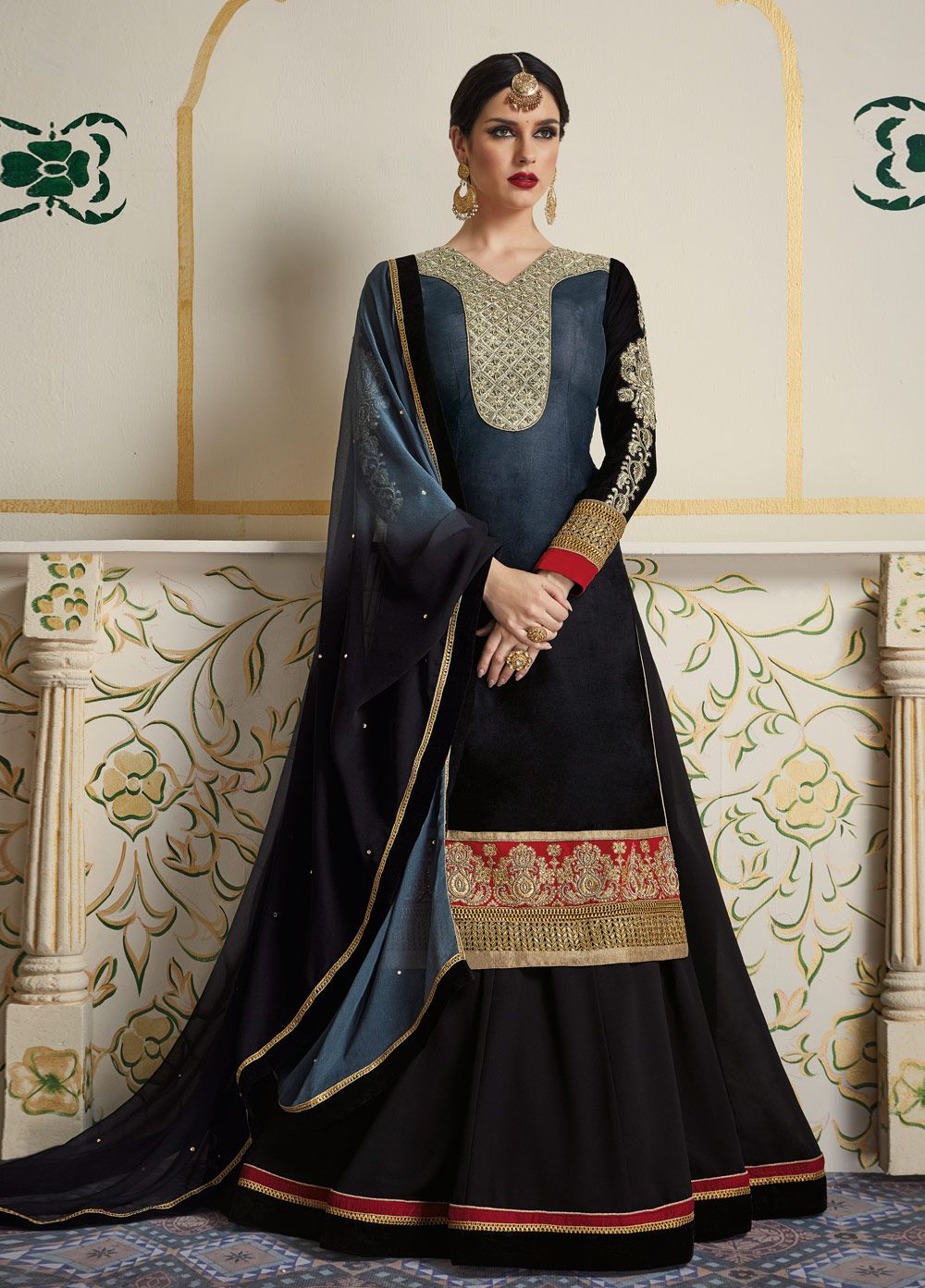 New arrival check out our ucblack and grey colour party wear lehenga