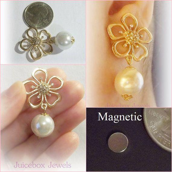 MAGNETIC Earrings Gold Plated Rhinestone Flower by JuiceboxJewels