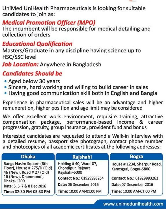 Unimed Unihealth Pharmaceuticals Job Circular Job