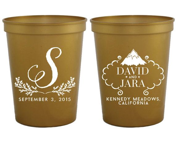 Rustic Wedding Favors Personalized Plastic Cups Party Monogrammed Mountain Custom
