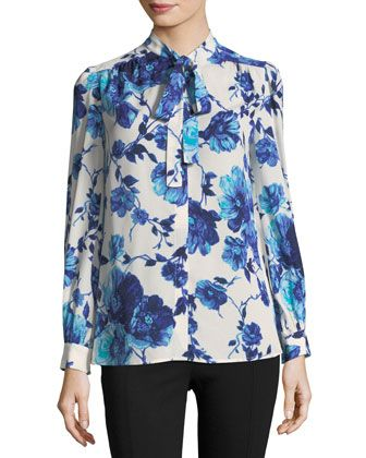 623f5dc2 Tory Burch Fall 2017 Kia Bow Blouse Style # 44263, Rosemont Floral Color
