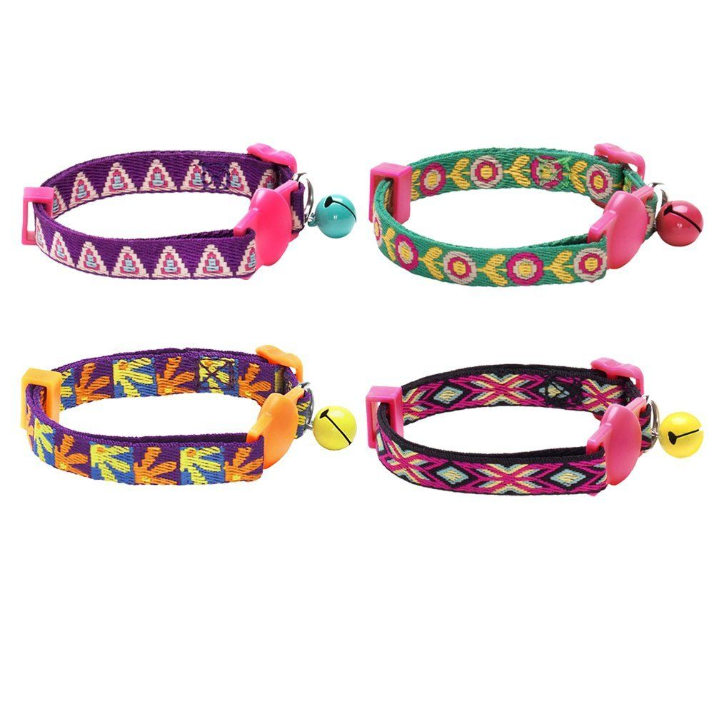Blueberry Cat Abstract Daisies Or Pyramid Shape Print Breakaway Cat Collar With Bell Packaging Vary 1 Pack 2 Pack Breakaway Cat Collars Cat Collars Pets