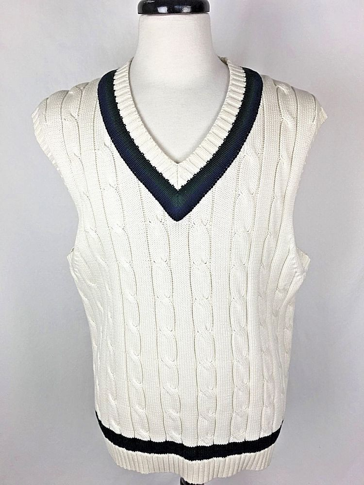 BROOKS BROTHERS Sweater XL Mens White Cotton Cable Knit Vest ...