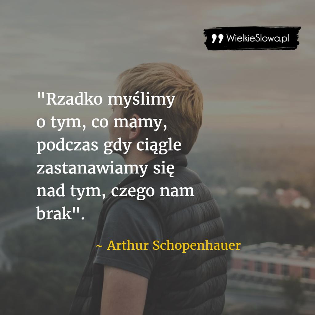 Rzadko Myślimy O Tym Co Mamy Schopenhauer Arthur