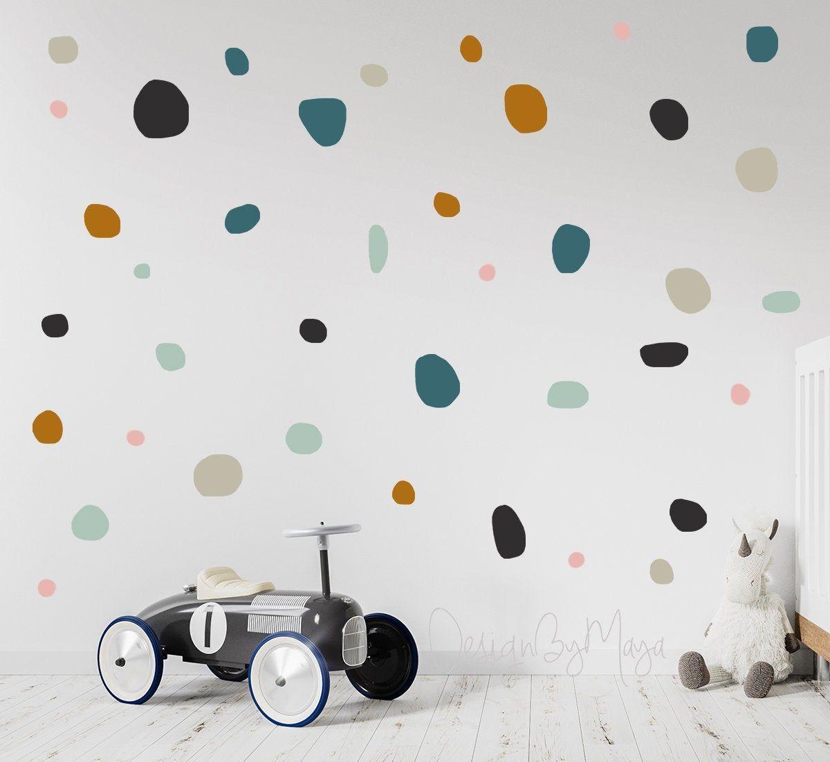 Hand Drawn Polka Dots Baby Nursery Kids Room Wall Decals Kids Nursery Wall Sticker Decor Polka Dot Playroo In 2020 Kids Room Wall Decals Playroom Wall Kids Wall Decals