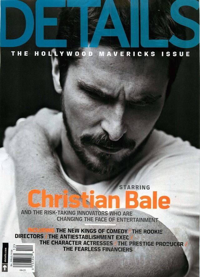 Christian Bale for Details Magazine Cover, issue Dec/2013 | Magazine Cover: Graphic Design, Typography, Photography |