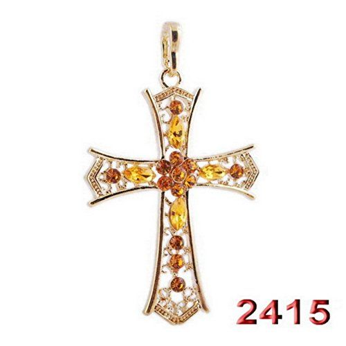 Glucky golden crucifix jewelry fashion necklaces for woman glucky golden crucifix jewelry fashion necklaces for woman rhinestone cross pendants charms necklace sweater jesus gift mozeypictures Images