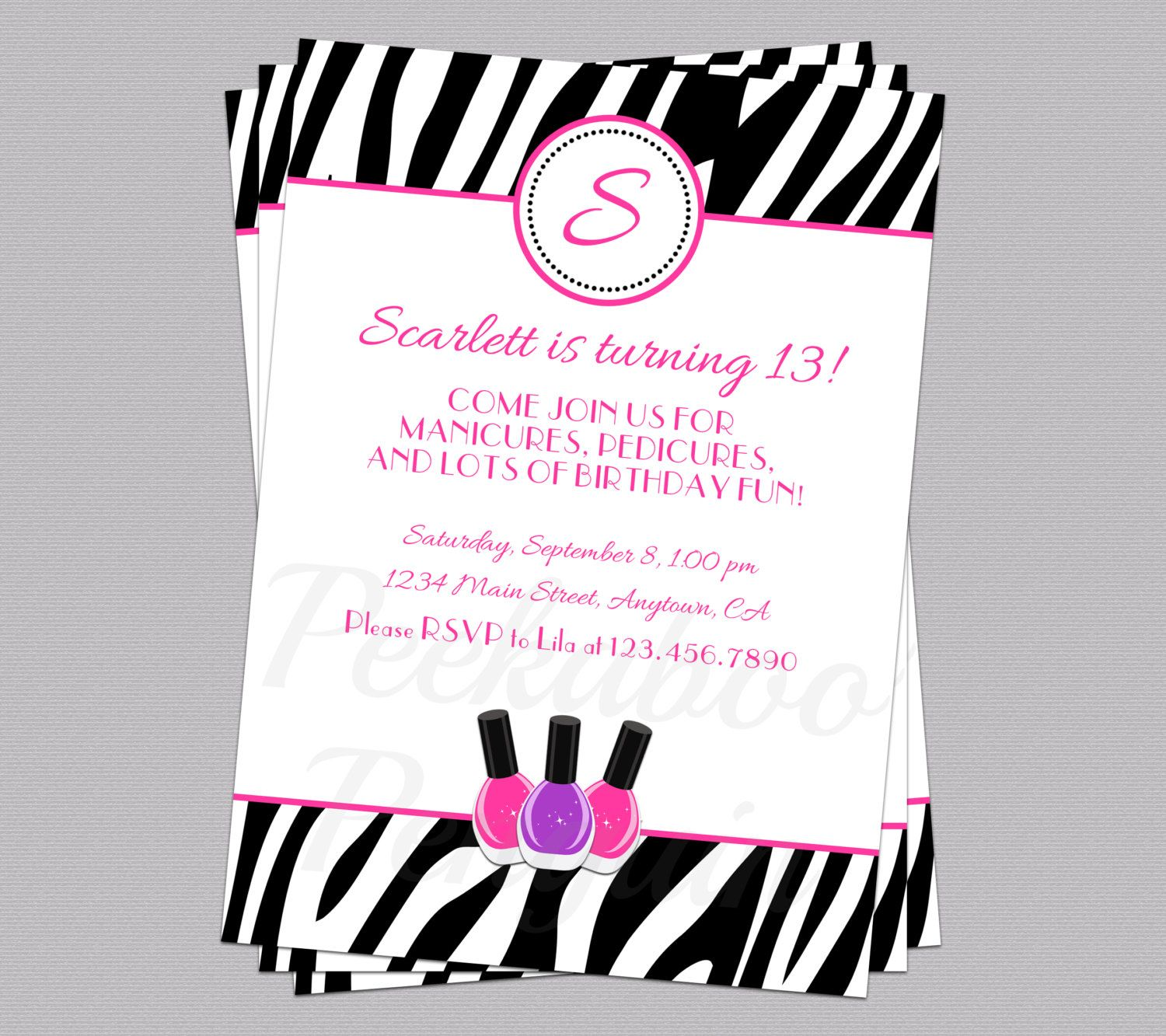 Spa Party Invitation, Tween Birthday Invite, Teen Birthday ...